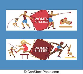 Women athletics set of banners vector illustration. Gymnastics training. Exercising female in different poses. Woman figures are training in sport club. Running and jumping.