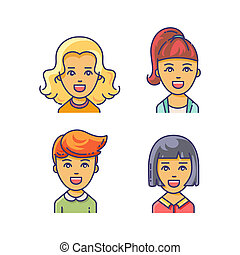 Women avatar icon with different haircuts. - Beautiful young...