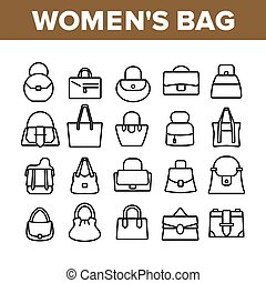Women Bag Accessory Collection Icons Set Vector