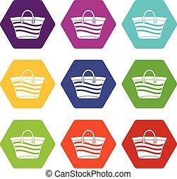 Women beach bag icon set color hexahedron