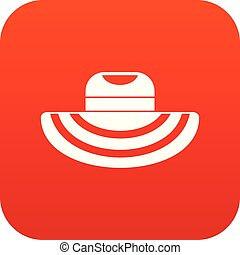 Women beach hat icon digital red