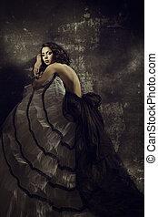 women beauty fashion dress, girl in draped gown artistic