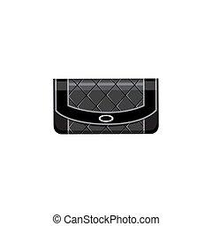Women black bag on a white background. Vector flat illustration.