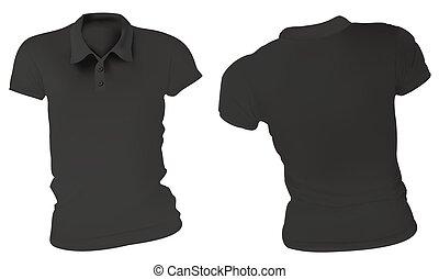 Women Black Polo Shirts Template