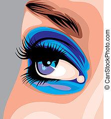 women blue nic eye as part of human