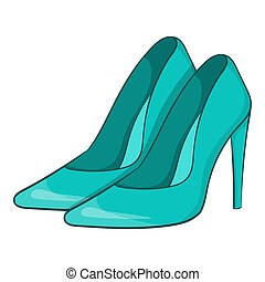 Women blue shoes icon, cartoon style