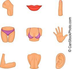 Women body part icons set, cartoon style