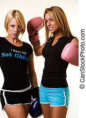 Women boxers - Portrait of two women wearing shorts and...