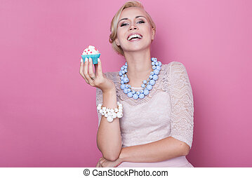 Women, cake, sweet, dessert - Laughing beautiful women hold...