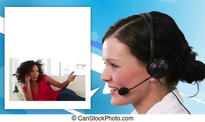 Women calling a help center against a blue background
