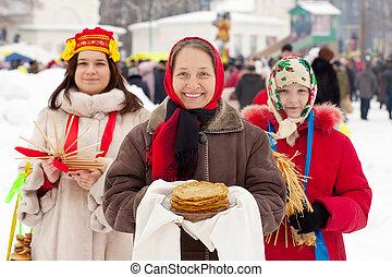 women celebrating  Shrovetide