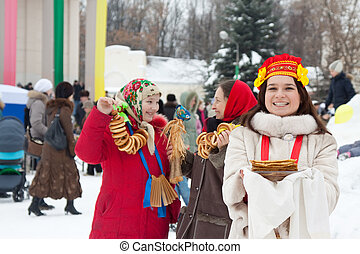 women celebrating  Shrovetide