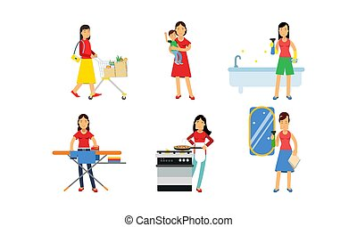 Women Characters In Daily Routine Housework Vector Illustration Set Isolated On White Background