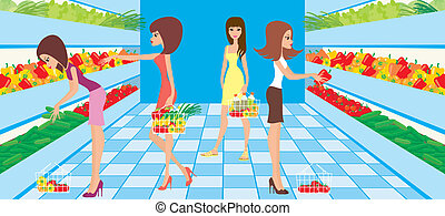 Women choose vegetables in a supermarket