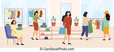 Women choosing clothes. Female shoppers in clothing store creating image. Fashion, trendy. People swapping stuff, shoes, accessories. Cartoon flat vector illustration isolated on white background