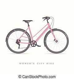 Women City Bike, vector illustration