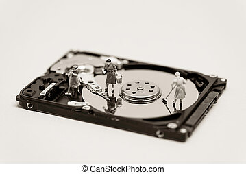 Women clean up a hard drive. Technology concept. Macro photo