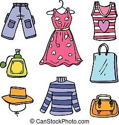 Women clothes set of doodles