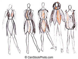 women clothing in native style - sketch of fashion model -...