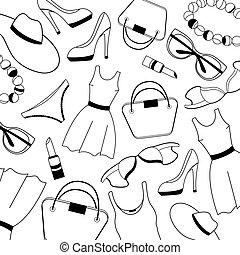 Women clothing, shoes, underwear and accessories pattern. -...