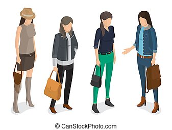 Women Collection of Model in Modern Autumn Apparel