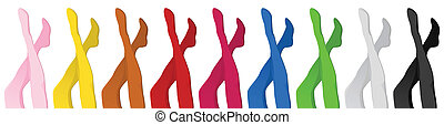 Women colorful pantyhoses legs - Vector - Women colorful...