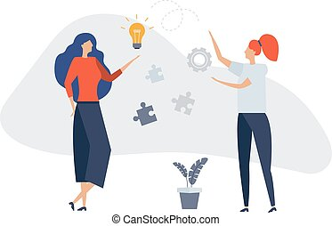 Women communicate, online news, social networks, virtual communication, information retrieval, company news, site construction. Businessmen discuss social. Prepare a project start up