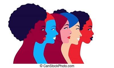 Women community and feminism movement concept. Multiethnic ...
