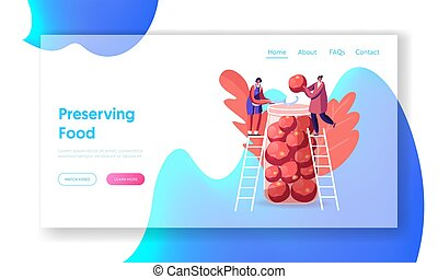 Women Cooking Fermented Homemade Food Landing Page Template. Tiny Female Characters Stand on Ladders Put Ripe Tomatoes and Salt into Huge Glass Jar, Purveyance. Cartoon People Vector Illustration