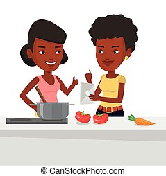 Women cooking healthy vegetable meal.