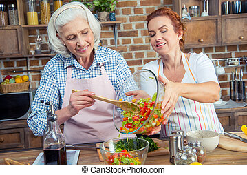 Women cooking together