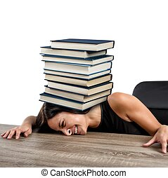 Women crushed on the table by books