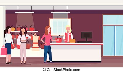 women customers standing line queue to cash desk counter big fashion shop super market female shopping mall interior modern boutique horizontal full length flat vector illustration