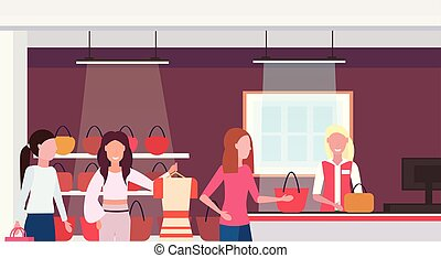 women customers standing line queue to cash desk counter big fashion shop super market female shopping mall interior modern boutique horizontal portrait flat