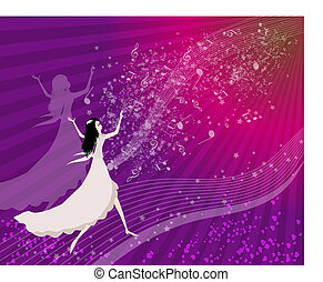 Women dancing with musical notes