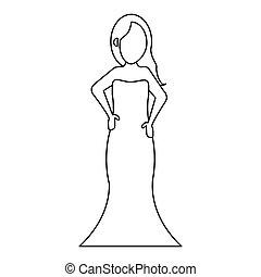 women day girl model fashion dress thin line vector...