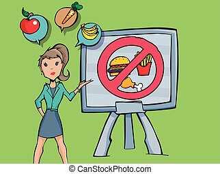 Women doing a presentation of eating habits