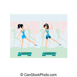 women doing exercise on aerobic step