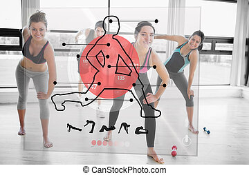 Women doing exercise with futuristic red interface...