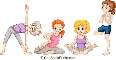 Women doing yaga in different positions