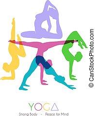 Women doing yoga asanas - Vector illustration of Woman doing...