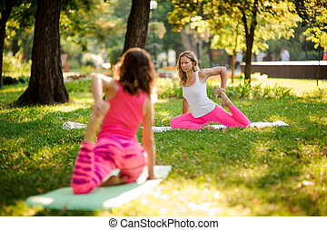 Women doing yoga exercises on the grass in a green park