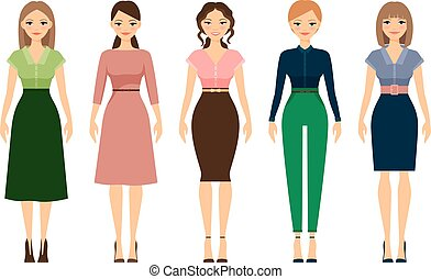 Women dress code romantic style icons on white background. ...
