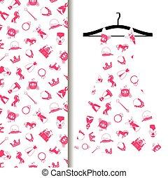 Women dress fabric with princess pattern - Women dress...