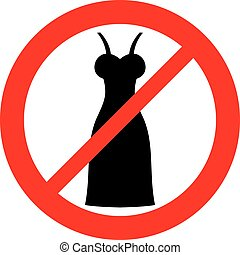 women dress forbidden sign (prohibition icon)