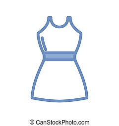 women dress icon, blue outline style - women dress icon over...