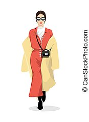 Women dressed in stylish trendy clothes - female fashion illustration