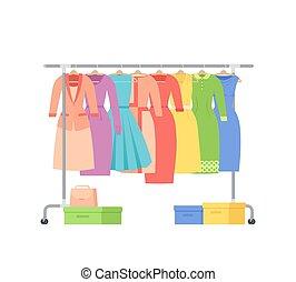 Women dresses on hangers rack. Flat vector illustration.