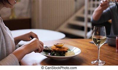 women eating at restaurant of nordic cuisine - food,...