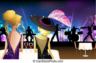 Women enjoying live Band